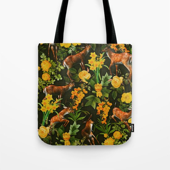 Deer and Floral Pattern Tote Bag