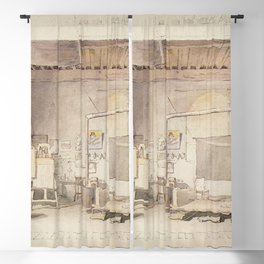 Alexander Andreyevich Ivanov - The Atelier of Alexander Ivanov in Rome Blackout Curtain