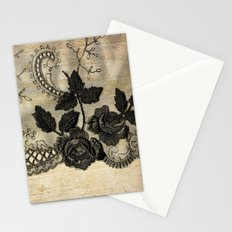 Black floral lace on wood  -Elegant and luxury design for women Stationery Cards