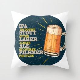 Beer always, vintage poster, circle, blue Throw Pillow