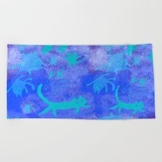 blue cats in space Beach Towel