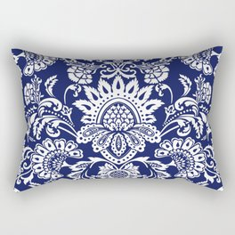 damask in white and blue Rectangular Pillow