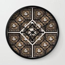 Cherokee Rose Pattern 2 pink brown Wall Clock
