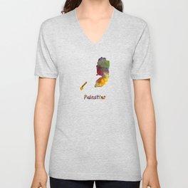 Palestine in watercolor Unisex V-Neck