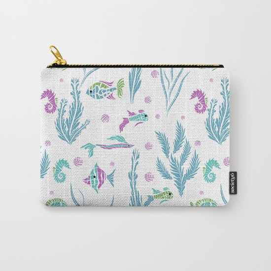 Sea , fish , seaweed , baby pattern . 2 Carry-All Pouch