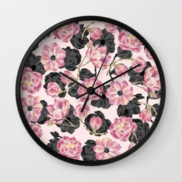 Girly Blush Pink and Black Watercolor Flowers Wall Clock
