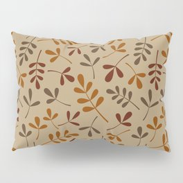 Fall Color Assorted Leaf Silhouette Pattern Pillow Sham
