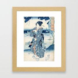 Geisha on the Bank of the Sumida River  - Vintage Japanese Art Print Framed Art Print