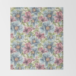Hibiscus Vintage Pattern Throw Blanket