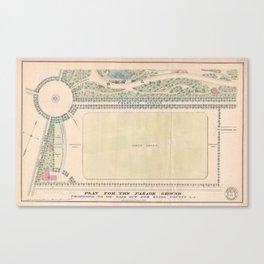 Vintage Map of Prospect Park (1868) Canvas Print