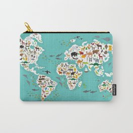 Cartoon animal world map for children and kids, Animals from all over the world Carry-All Pouch