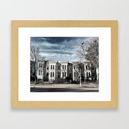 Houses in Blue Framed Art Print