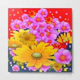 RAZZLE-DAZZLE FLORALS IN RED-TEAL COLOR Metal Print