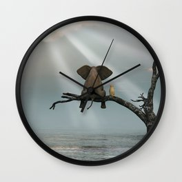 elephant and dog sit on a tree during a flood Wall Clock