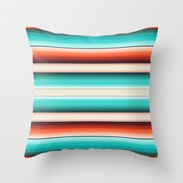 Navajo White, Turquoise and Burnt Orange Southwest Serape Blanket Stripes Throw Pillow