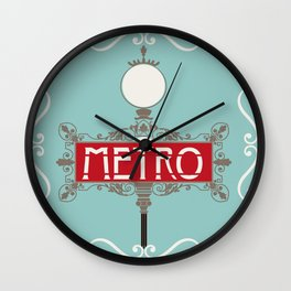 Vintage Paris Metro Sign Art Print Wall Clock
