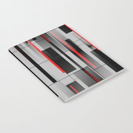 Off the Grid - Abstract - Gray, Black, Red Notebook