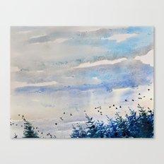 black birds, blue sky Canvas Print