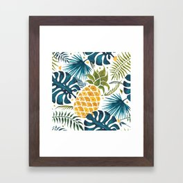 Golden pineapple on palm leaves foliage Framed Art Print