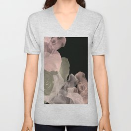 Blush Abstract Roses on Blackground Unisex V-Neck