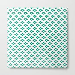 Emerald Small Woven Diamonds Metal Print