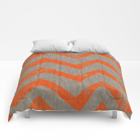 Orange chevron on linen Comforters