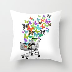 Urban Butterflies Throw Pillow