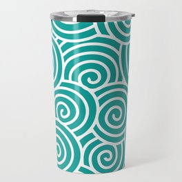 Chinese Spirals | Abstract Waves | Teal and White Travel Mug