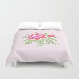 Embroidered red rose Duvet Cover