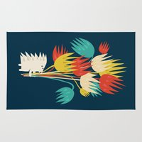 hedgehog Area & Throw Rugs featuring Hedgehog with flowers by Picomodi