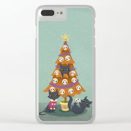 Meowy christmas sugar skulls Clear iPhone Case