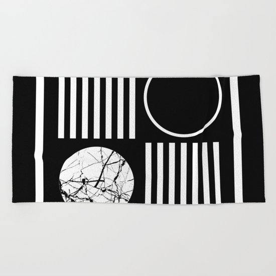 Retro Marble 2 - Abstract, geometric, black and white, bold, modern design Beach Towel