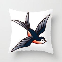 Vintage Tattoo Style Swallow Throw Pillow