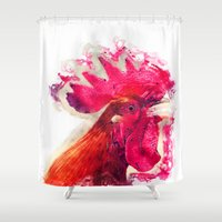 rooster Shower Curtains featuring Rooster by jbjart