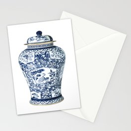 Blue & White Chinoiserie Cranes Porcelain Ginger Jar Stationery Cards