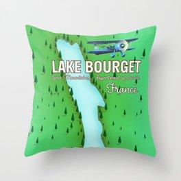 Lake Bourget Jura Mountains department of Savoie, France Map Art Print Throw Pillow