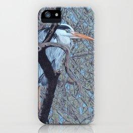 Grey Heron (Ardea Cinerea) Colored Pencils Artwork iPhone Case