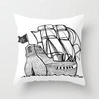 pirate ship Throw Pillows featuring Pirate Ship by Addison Karl