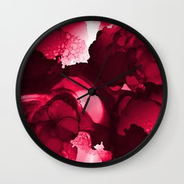 Red abstract ink art  d1710014R Wall Clock