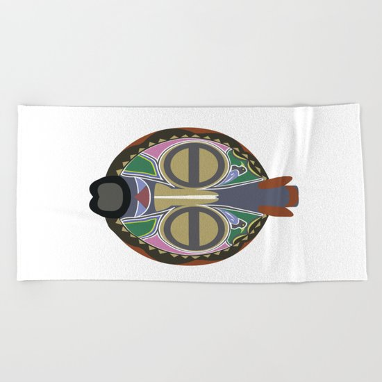 African Tribal Mask No. 6 Beach Towel