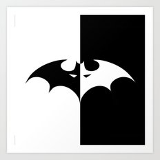BAT man BW Art Print