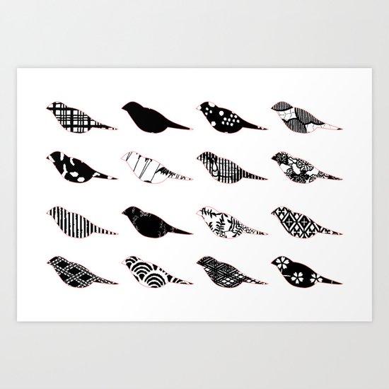 Monochromatic Patterned birds Art Print