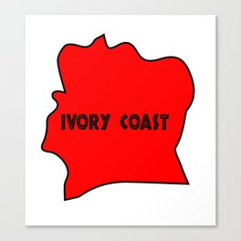 Ivory Coast Red Silhouette Canvas Print
