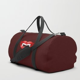 Vampire Mouth Illustration With Red Lips And Fangs Duffle Bag