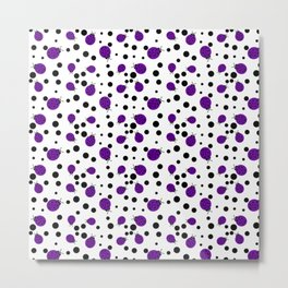Purple Ladybugs and Black Dots Metal Print