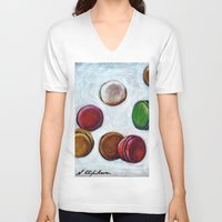 macarons V-neck T-shirts featuring Macarons by Nath Chipilova