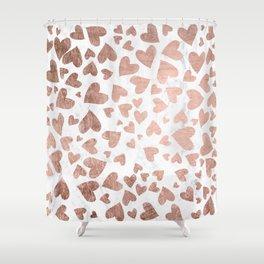 Modern rose gold handdrawn hearts love valentine white marble pattern Shower Curtain