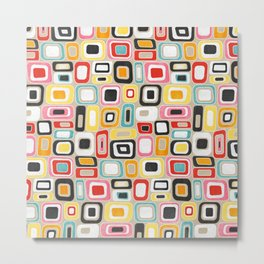 Watercolor Mid Century Modern Squares and Rectangles Metal Print