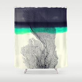 Modern Abstract Sea Coral Reef on Beach Background Shower Curtain