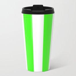 Vertical Stripes - White and Neon Green Travel Mug